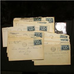 Large group of Iowa City, Iowa Postmarked letters with Three Cent Iowa Statehood Stamps; & 1922 P U.