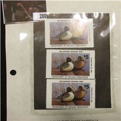 (3) 1988  IA17 Iowa $5 Migratory Waterfowl Stamps. All are unsigned and unused, excellent condition.
