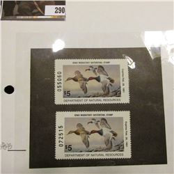 Pair of 1990 IA19 Iowa $5 Migratory Waterfowl Stamps. Both unsigned and unused, excellent condition.