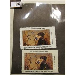 Pair of 1992  IA21 Iowa $5 Migratory Waterfowl Stamps. Both unsigned and unused, excellent condition