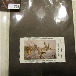 1993  $5 IA22 Iowa Migratory Waterfowl Stamp with attached edge. Never signed or used, Mint conditio