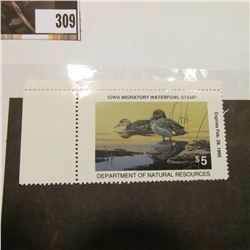1994  $5 IA23 Iowa Migratory Waterfowl Stamp with two attached edges. Never signed or used, Mint con