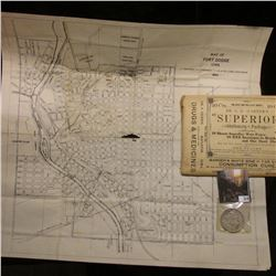 """Map of Fort Dodge Iowa 1941"" 17.5"" x 14.25""; Quack Doctor advertising Envelope containing ""Dr. C.D."