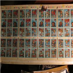 "21.5"" x 29.5"" ""Set C 3-D Super Stars: Sheet of 1971 Xograph Hologram Football cards."