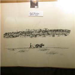 "17.5"" x 23"" Black & White Artist signed Print of Fort Dodge, Iowa. Autographed by S. Heman."