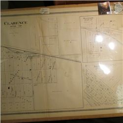 "18"" x 31"" Map of ""Clarence (Iowa) Dayton Twp."" & 1922 D U.S. Peace Silver Dollar, EF."