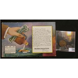 """June 1909 """"Iowa State Savings Bank"""" Calendar Post Card depicting change purse with cash and coins sp"""