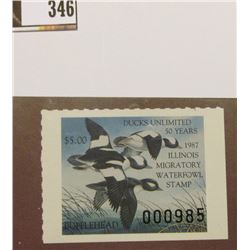 "1987 Illinois Migratory Waterfowl Stamp ""Ducks Unlimited 50 Years"", IL13, VF, NH."