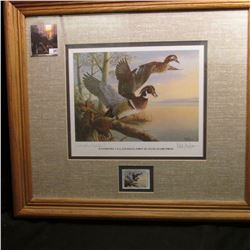"16"" x 18"" Framed and matted Collectors Edition Waterfowl U.S.A. Louisiana First of State Stamp/Print"