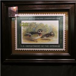 "13"" x 16.25"" framed and matted $20 Migratory Bird Hunting and Conservation Stamp 3-D high relief lar"