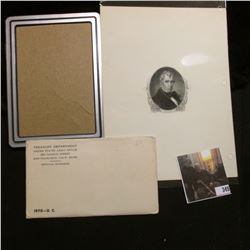 "6"" x 8"" Black and White Steel Engraving Print of Benjamin Harrison; & 1970 U.S. Mint Set in unopened"
