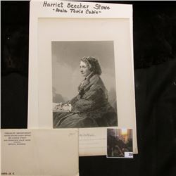 "7 1/2"" x 10 7/8"" Black and White Steel Engraving Print of Harriet Beecher Stowe of Uncle Tom's Cabin"