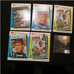 Personally autographed 1982 Kmart Baseball Cards: (2) 1977 MVP George Foster; (2) 1964 MVP Brooks Ro