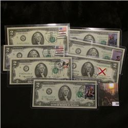 (7) Different First Day Postal Cancelled April 13, 1976 Series 1976 $2 Federal Reserve Notes with .1