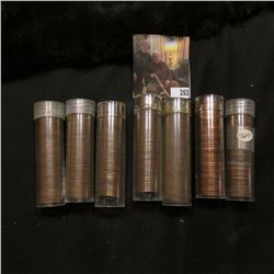 Solid Date rolls of circulated Lincoln Cents including 1926P, 28P, 39P, 44S, 50S, 55S, & 62D. (7 rol