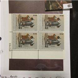 1983 LL Line numbered Plateblock of four RW50 Federal Migratory Waterfowl $7.50 Stamps. VF-EF, not h