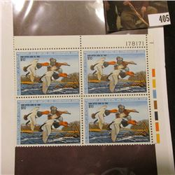 1987 UR Line numbered Plateblock of four RW54 Federal Migratory Waterfowl $10.00 Stamps. EF.