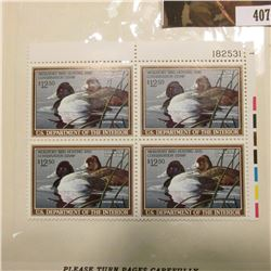 1989 UR Line numbered Plateblock of four RW56 Federal Migratory Waterfowl $12.50 Stamps. EF.