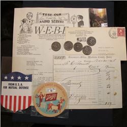 "1930 ""Test Our Radio Service Radio Broadcasting Station W-E-B-E…"" Letterhead with letter; 1866 Recei"