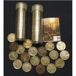"Pair of mixed date Jefferson Nickels in plastic tubes; pair of Shield Nickels; (3) Liberty ""V"" Nicke"