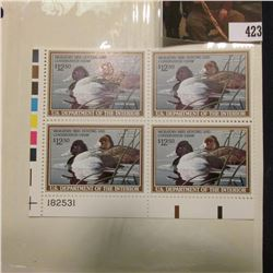 1989 LL Line numbered Plateblock of four RW56 Federal Migratory Waterfowl $12.50 Stamps. EF.