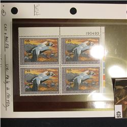 1992 UR Line numbered Plateblock of four RW59 Federal Migratory Waterfowl $15.00 Stamps. EF.