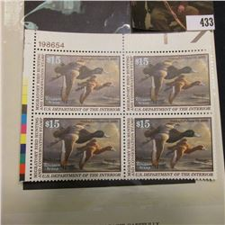 1999 UL Line numbered Plateblock of four RW66 Federal Migratory Waterfowl $15.00 Stamps. EF.
