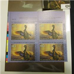 2000 UL Line numbered Plateblock of four RW67 Federal Migratory Waterfowl $15.00 Stamps. EF.
