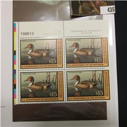 2001 UL Line numbered Plateblock of four RW68 Federal Migratory Waterfowl $15.00 Stamps. EF.