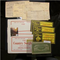 "(22) unused condition labels for ""This Can Contains…..Pounds of Pure Country Sorghum Manufactured Fo"