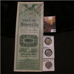 "1949 Gold Bond ""City of Jersey City State of New Jersey""; 1936D VG, 37P EF, & 37S VF Buffalo Nickels"