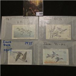 1975, 1976, 1978, & 1981 Signed and Used Iowa Migratory Waterfowl Stamps.