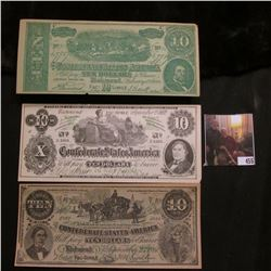 (3) Different early $10 Confederate States of America Fac-simile Advertising notes from Paris, Mo.,