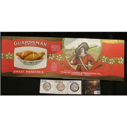 """Unused label """"Guardsman Brand Sweet Potatoes…Packed by Zeigler Canning & Preserving Co., Muscatine,"""