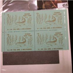 Block of Four 1973 New Jersey Division of Fish, Game, & Shellfisheries Resident $2 Trout Stamps. Min