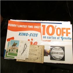 """Heavy paper sign """"Hurry! Limited Time Only! King-Size Frostie 10c Off on carton of Frostie Now 6 (pl"""