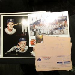 (4) 1950-63 New York Yankees Placemats, which 'Doc' used to sell at $12 each; (16) 1985 check receip