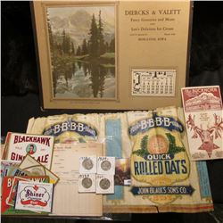 """1930 era label for 3 Lbs. package """"Four.B.B.B.B.Brand Quick Rolled Oats Distributed by John Blaul's"""