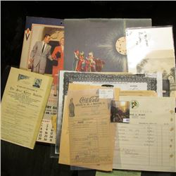 Large group of Muscatine, Iowa memorabilia dating back to 1875. Mostly receipts, newspaper clippings