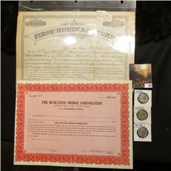 """1897 First Mortgage Bond Muscatine, Iowa October 12th, 1897; unissued Stock Certificate """"The Muscati"""