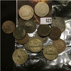 Mixed Bag - 12 Indian Cents, mostly low grade, damaged, etc., holed Shield Nickel, 3 Liberty Head Ni