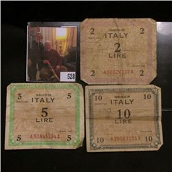 3 pieces of Allied Military Currency, Issued in Italy these were issued in 1943 shortly after Aliies