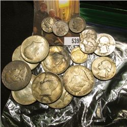 $5.10 of 90% silver, includes 6 -64 Kennedys, 2 Franklins, 2 Washington quarters, 6 silver dimes