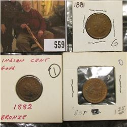 Group of 3 Indian Cents 1881 G, 1882 G, 1883 F