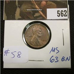 1-1909 Lincoln Cent MS 63 BN