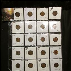 Sheet of 20 different Lincoln Cents 1929 D thru 1941, better grades, VF-MS red.