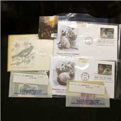 3 First Day Covers - 2 cats from 1988, bird from 1977, Also 2 small envelopes of cancelled US Comm S