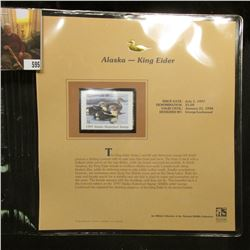 1997 Alaska $5 Waterfowl Stamp, King Eider, Mint, unused, in original holder with literature.