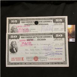 "$25 & $50 United States Savings Bond ""War Savings Bond Series E"", both cancelled in January of 1945"