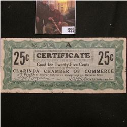 "April 10, 1933 by the ""Clarinda Chamber of Commerce"" ""Good for Twenty-Five Cents"" signed by Sec'y an"